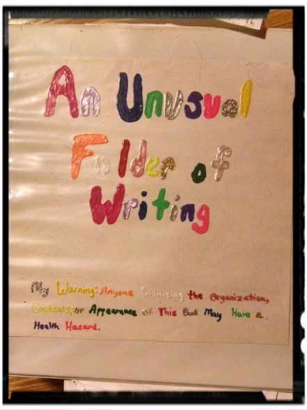 """The notebook where I kept all of my adolescent ramblings. Oh yeah, that's puff paint. The warning at the bottom says """"Warning: Anyone criticizing the organization, contents, or appearance of this book may have a health hazard."""""""